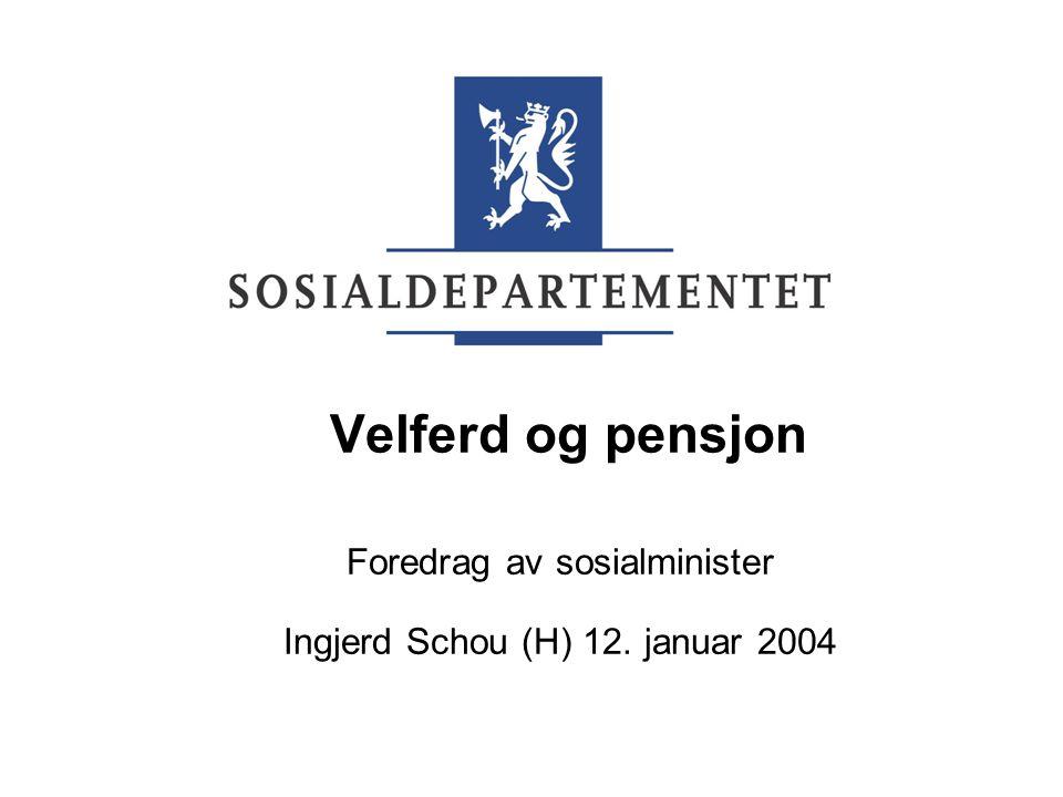 Velferd og pensjon Foredrag av sosialminister Ingjerd Schou (H) 12. januar 2004