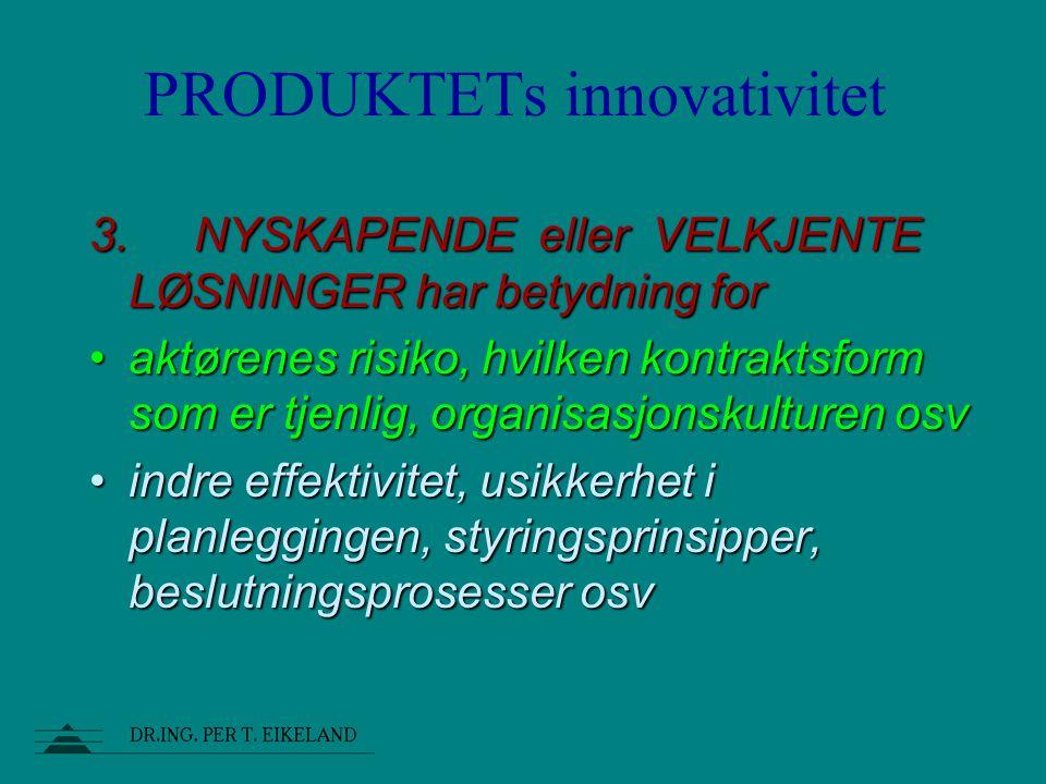 produkt prosess organiasjon bygge- prosjekters tre hoved- dimensjoner: produkt prosess organiasjon