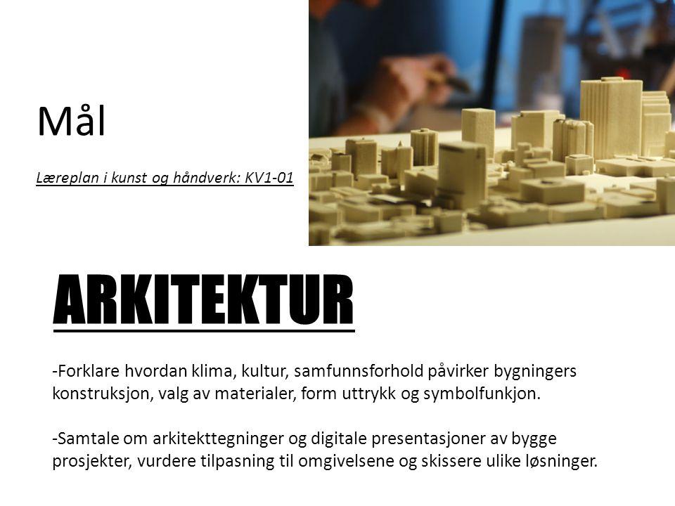 Mål Læreplan i kunst og håndverk: KV1-01 ARKITEKTUR -Forklare hvordan klima, kultur, samfunnsforhold påvirker bygningers konstruksjon, valg av materia