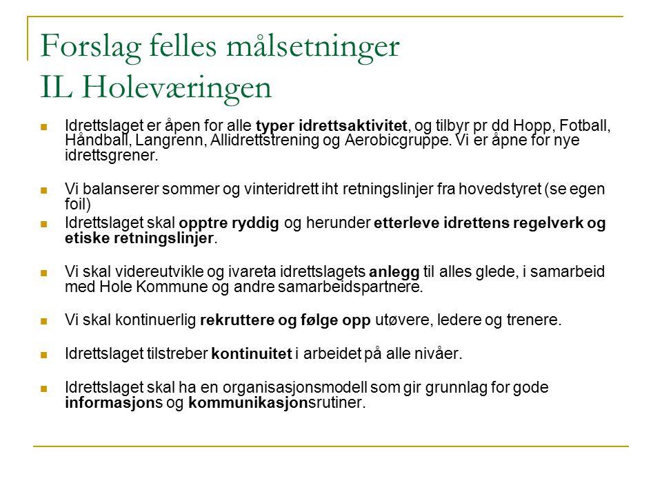 Forslag felles målsetninger IL Holeværingen Idrettslaget er åpen for alle typer idrettsaktivitet, og tilbyr pr dd Hopp, Fotball, Håndball, Langrenn, Allidrettstrening og Aerobicgruppe.