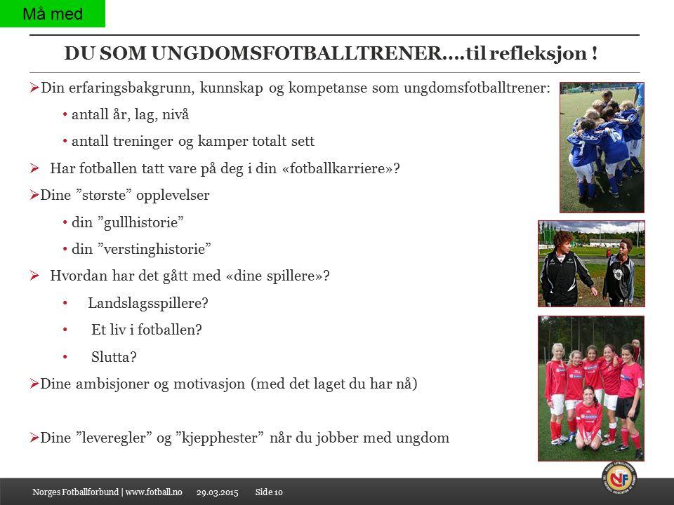 DU SOM UNGDOMSFOTBALLTRENER….til refleksjon ! Norges Fotballforbund | www.fotball.no  Din erfaringsbakgrunn, kunnskap og kompetanse som ungdomsfotbal
