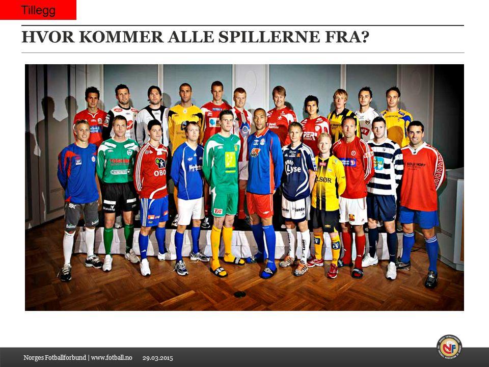 29.03.2015 HVOR KOMMER ALLE SPILLERNE FRA? Norges Fotballforbund | www.fotball.no Tillegg