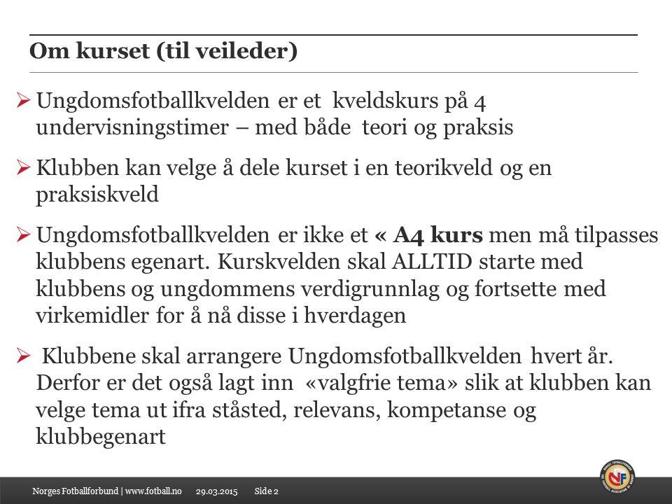 Om kurset (til veileder) Norges Fotballforbund | www.fotball.no  Ungdomsfotballkvelden er et kveldskurs på 4 undervisningstimer – med både teori og p