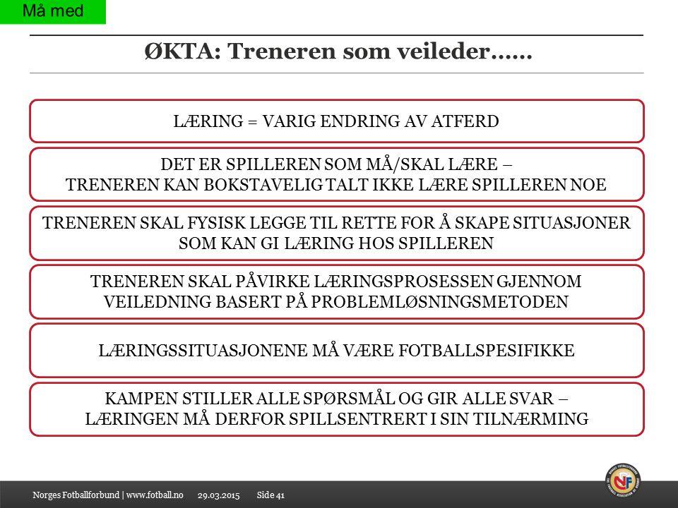29.03.2015 ØKTA: Treneren som veileder…… Norges Fotballforbund | www.fotball.noSide 41 LÆRING = VARIG ENDRING AV ATFERD DET ER SPILLEREN SOM MÅ/SKAL L