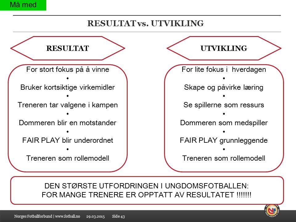 29.03.2015 RESULTAT vs. UTVIKLING Norges Fotballforbund | www.fotball.noSide 43 DEN STØRSTE UTFORDRINGEN I UNGDOMSFOTBALLEN: FOR MANGE TRENERE ER OPPT