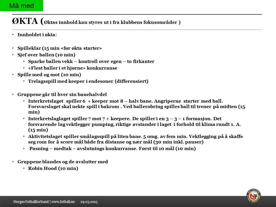 29.03.2015 ØKTA ( Øktas innhold kan styres ut i fra klubbens fokusområder ) Innholdet i økta: Spilleklar (15 min «før økta starter» Sjef over ballen (