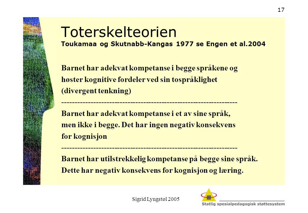 Sigrid Lyngstøl 2005 17 Toterskelteorien Toukamaa og Skutnabb-Kangas 1977 se Engen et al.2004 Barnet har adekvat kompetanse i begge språkene og høster