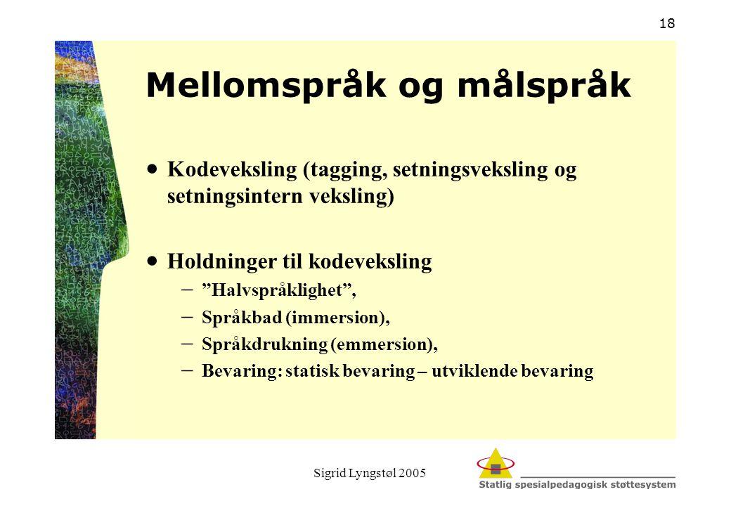 Sigrid Lyngstøl 2005 18 Mellomspråk og målspråk  Kodeveksling (tagging, setningsveksling og setningsintern veksling)  Holdninger til kodeveksling 