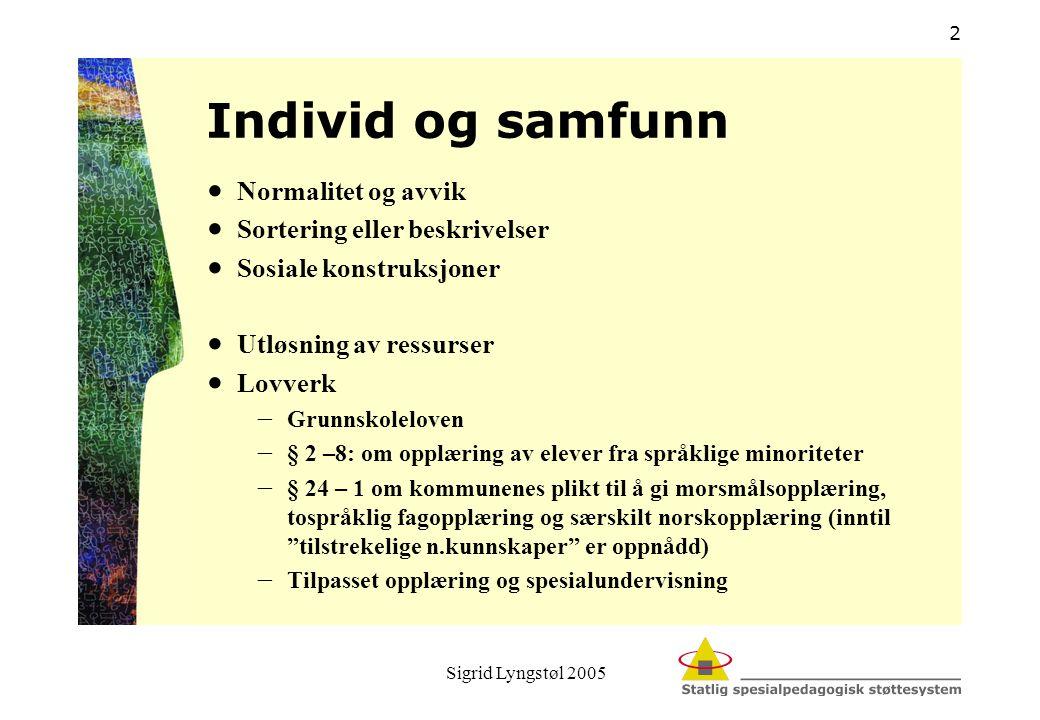 Sigrid Lyngstøl 2005 2 Individ og samfunn  Normalitet og avvik  Sortering eller beskrivelser  Sosiale konstruksjoner  Utløsning av ressurser  Lov
