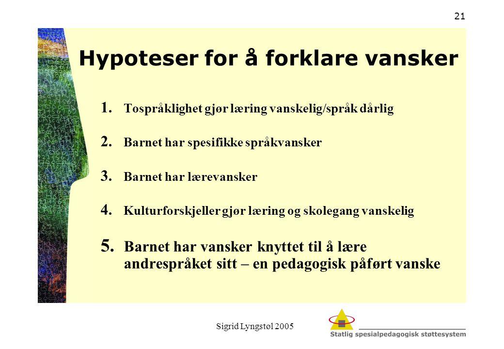 Sigrid Lyngstøl 2005 21 Hypoteser for å forklare vansker 1. Tospråklighet gjør læring vanskelig/språk dårlig 2. Barnet har spesifikke språkvansker 3.