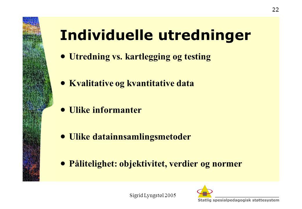 Sigrid Lyngstøl 2005 22 Individuelle utredninger  Utredning vs. kartlegging og testing  Kvalitative og kvantitative data  Ulike informanter  Ulike
