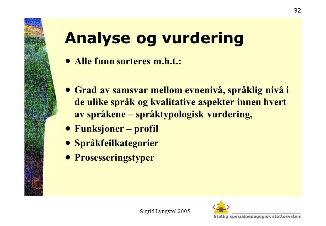 Sigrid Lyngstøl 2005 32 Analyse og vurdering  Alle funn sorteres m.h.t.:  Grad av samsvar mellom evnenivå, språklig nivå i de ulike språk og kvalita