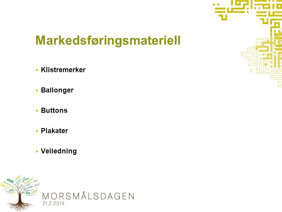 Markedsføringsmateriell  Klistremerker  Ballonger  Buttons  Plakater  Veiledning