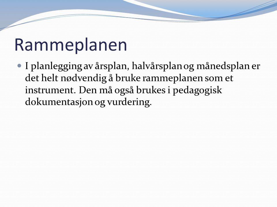 Rammeplanen I planlegging av årsplan, halvårsplan og månedsplan er det helt nødvendig å bruke rammeplanen som et instrument. Den må også brukes i peda