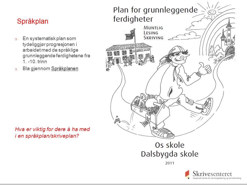Språkplan  En systematisk plan som tydeliggjør progresjonen i arbeidet med de språklige grunnleggende ferdighetene fra 1. -10. trinn  Bla gjennom Sp