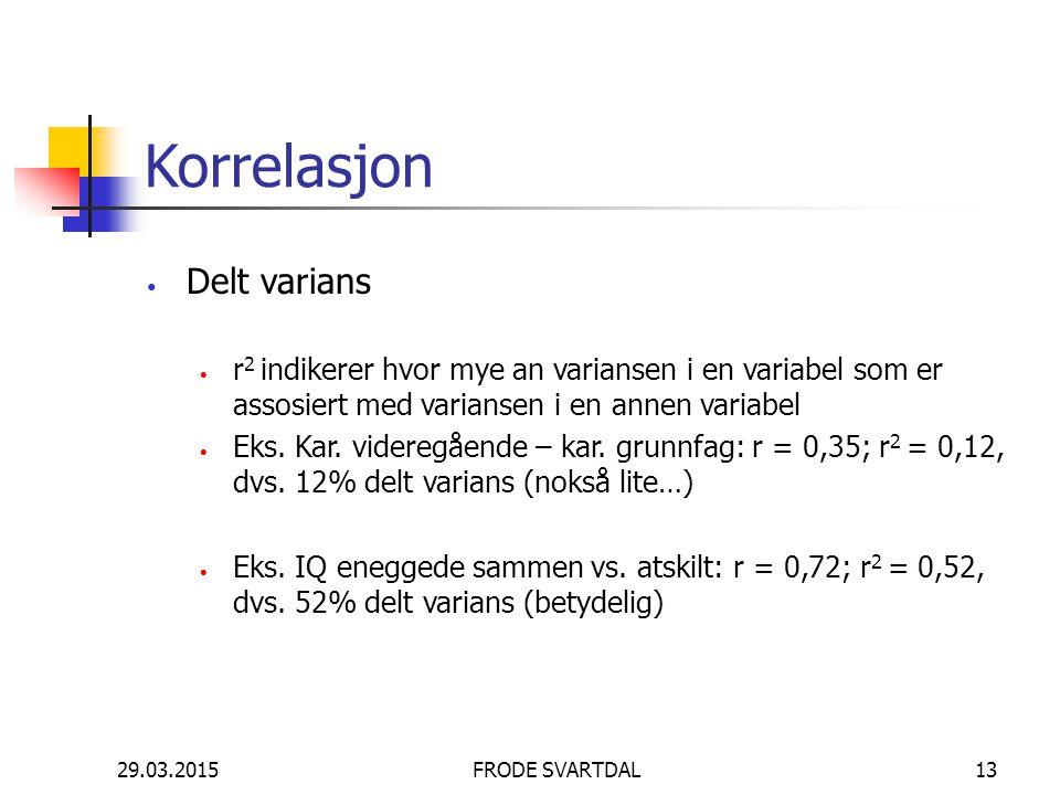 Korrelasjon Delt varians r 2 indikerer hvor mye an variansen i en variabel som er assosiert med variansen i en annen variabel Eks. Kar. videregående –