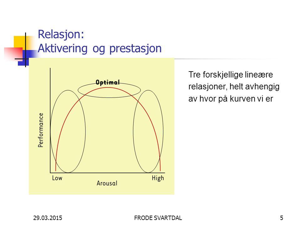 29.03.2015FRODE SVARTDAL5 Relasjon: Aktivering og prestasjon Tre forskjellige lineære relasjoner, helt avhengig av hvor på kurven vi er