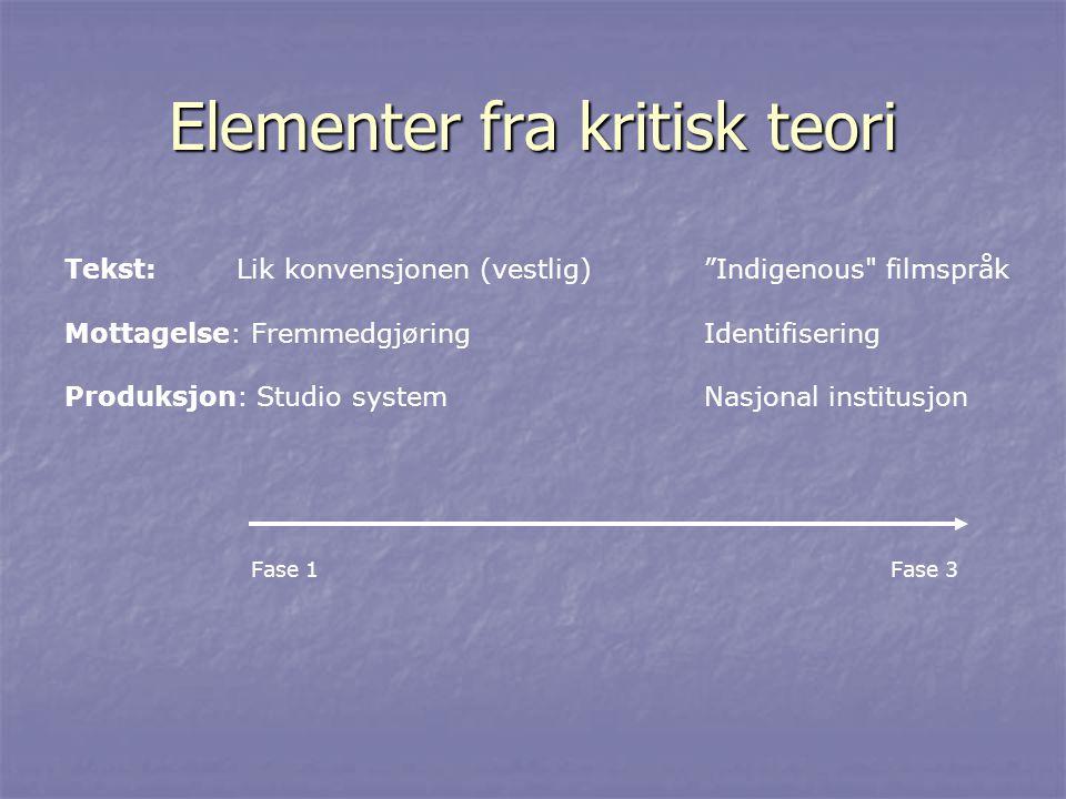 Elementer fra kritisk teori Tekst: Lik konvensjonen (vestlig) Indigenous filmspråk Mottagelse: FremmedgjøringIdentifisering Produksjon: Studio systemNasjonal institusjon Fase 1 Fase 3