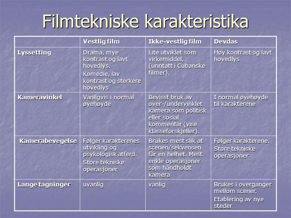 Filmtekniske karakteristika Vestlig film Ikke-vestlig film Devdas Lyssetting Drama, mye kontrast og lavt hovedlys.