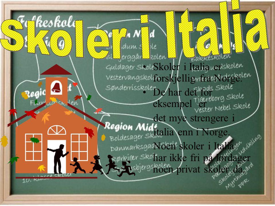 Skoler i Italia er forskjellig fra Norge.