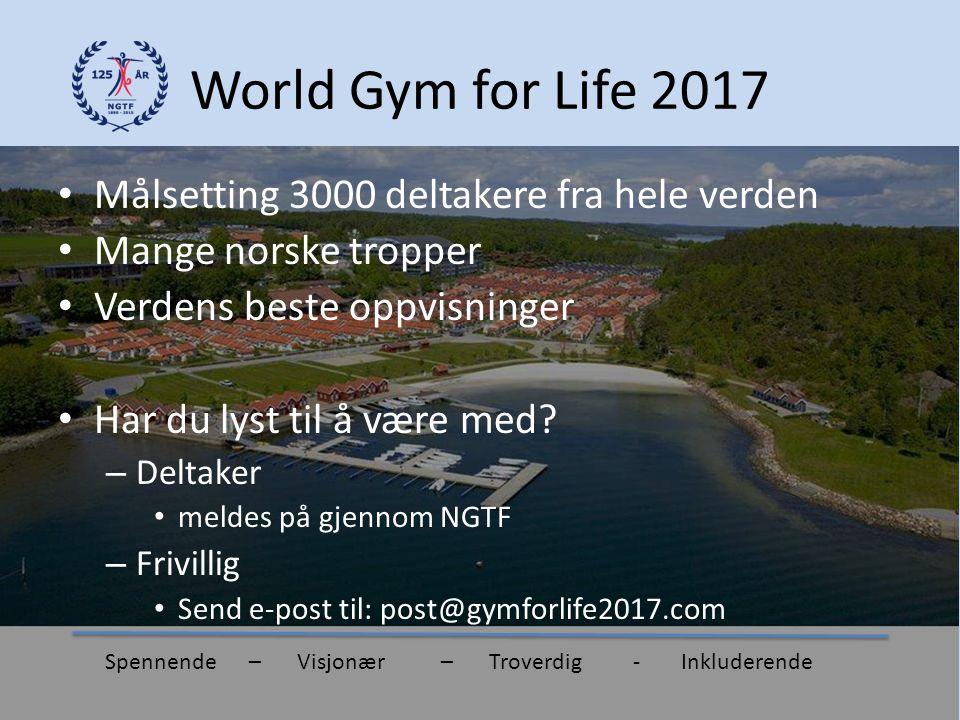 World Gym for Life 2017 Målsetting 3000 deltakere fra hele verden Mange norske tropper Verdens beste oppvisninger Har du lyst til å være med? – Deltak