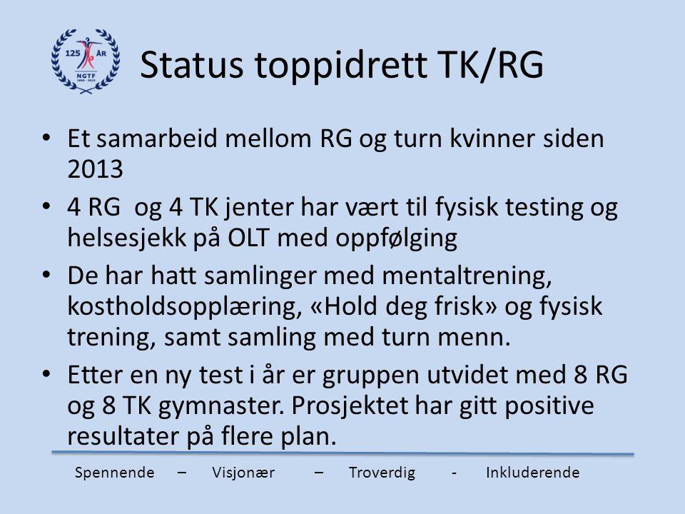 Status toppidrett TK/RG Et samarbeid mellom RG og turn kvinner siden 2013 4 RG og 4 TK jenter har vært til fysisk testing og helsesjekk på OLT med opp