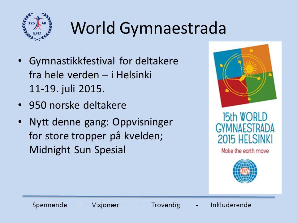 World Gymnaestrada Gymnastikkfestival for deltakere fra hele verden – i Helsinki 11-19. juli 2015. 950 norske deltakere Nytt denne gang: Oppvisninger