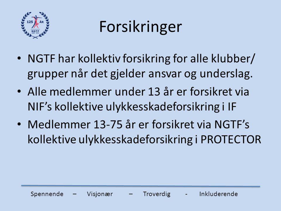 Forsikringer NGTF har kollektiv forsikring for alle klubber/ grupper når det gjelder ansvar og underslag. Alle medlemmer under 13 år er forsikret via