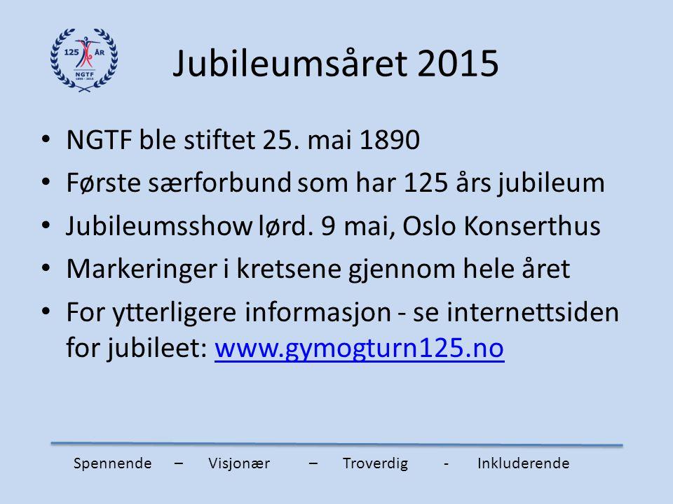 Jubileumsåret 2015 NGTF ble stiftet 25. mai 1890 Første særforbund som har 125 års jubileum Jubileumsshow lørd. 9 mai, Oslo Konserthus Markeringer i k