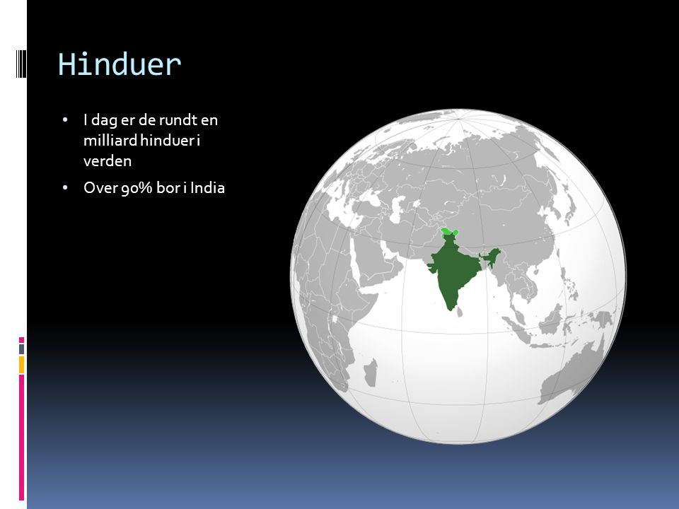 Hinduer I dag er de rundt en milliard hinduer i verden Over 90% bor i India