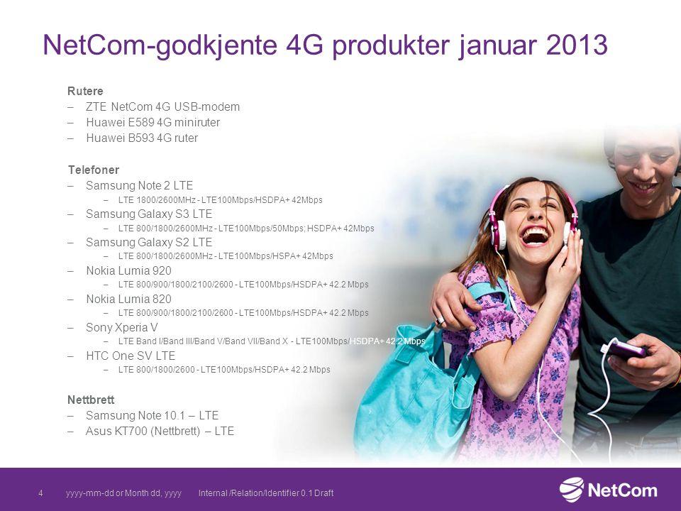 NetCom-godkjente 4G produkter januar 2013 Rutere –ZTE NetCom 4G USB-modem –Huawei E589 4G miniruter –Huawei B593 4G ruter Telefoner –Samsung Note 2 LT