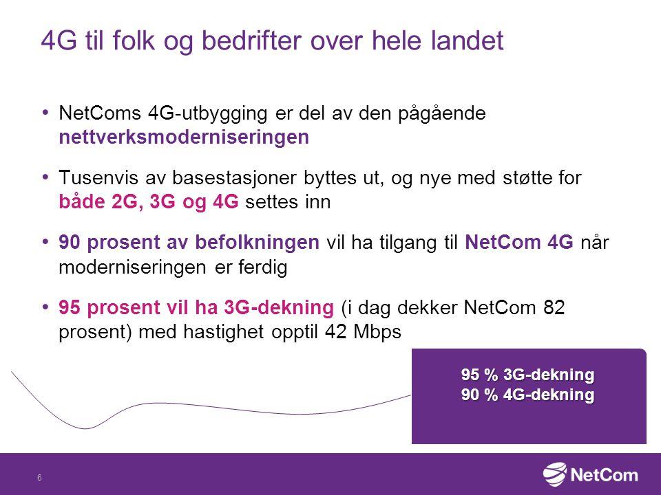 4G til folk og bedrifter over hele landet NetComs 4G-utbygging er del av den pågående nettverksmoderniseringen Tusenvis av basestasjoner byttes ut, og