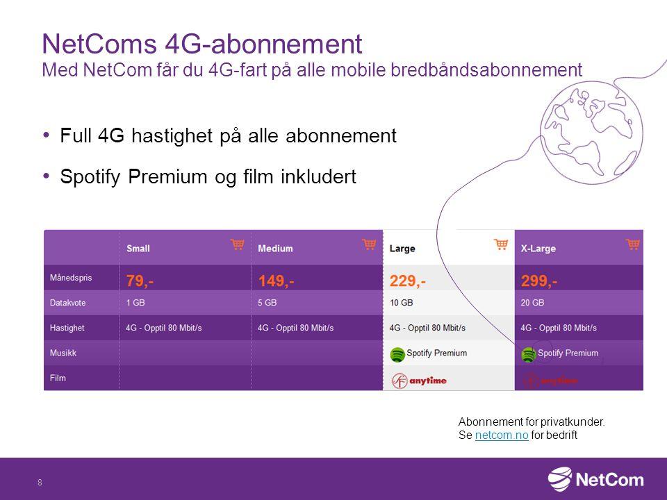 NetComs 4G-abonnement Med NetCom får du 4G-fart på alle mobile bredbåndsabonnement Full 4G hastighet på alle abonnement Spotify Premium og film inkludert 8 Abonnement for privatkunder.
