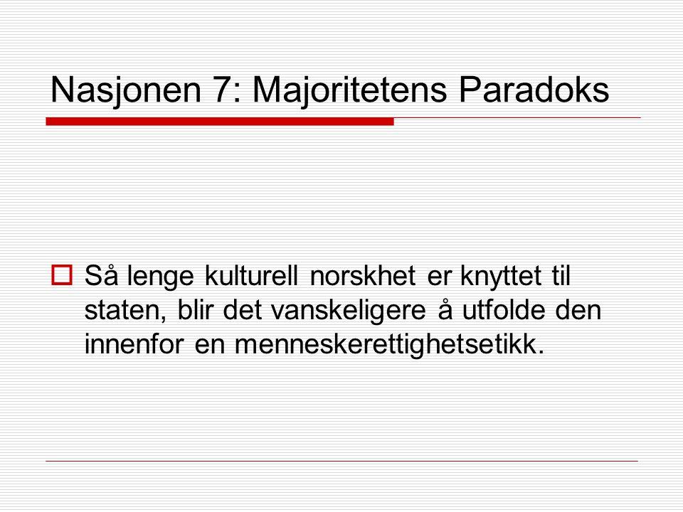 Nasjonen 7: Majoritetens Paradoks  Så lenge kulturell norskhet er knyttet til staten, blir det vanskeligere å utfolde den innenfor en menneskerettighetsetikk.