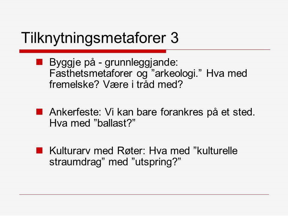 Tilknytningsmetaforer 3 Byggje på - grunnleggjande: Fasthetsmetaforer og arkeologi. Hva med fremelske.