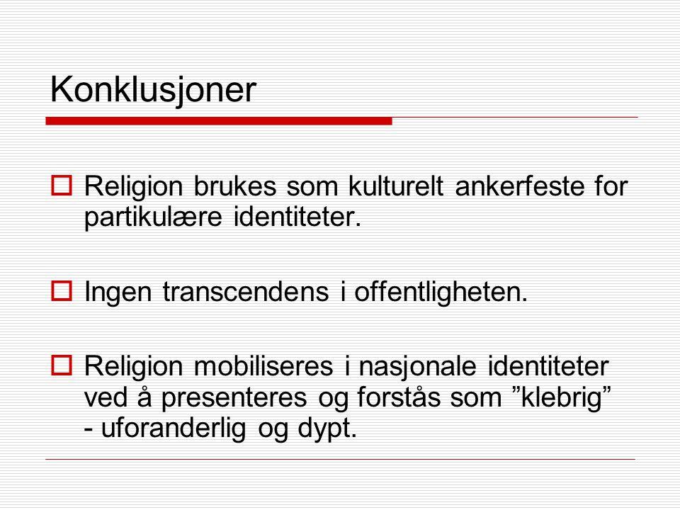 Konklusjoner  Religion brukes som kulturelt ankerfeste for partikulære identiteter.