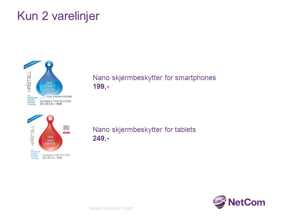 Kun 2 varelinjer Relation Identifier 0.1 Draft Nano skjermbeskytter for smartphones 199,- Nano skjermbeskytter for tablets 249,-