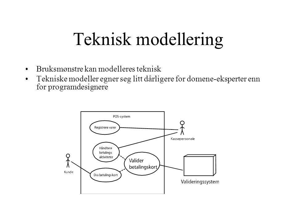 Teknisk modellering Bruksmønstre kan modelleres teknisk Tekniske modeller egner seg litt dårligere for domene-eksperter enn for programdesignere