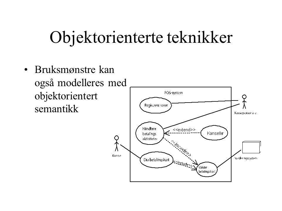Objektorienterte teknikker Bruksmønstre kan også modelleres med objektorientert semantikk