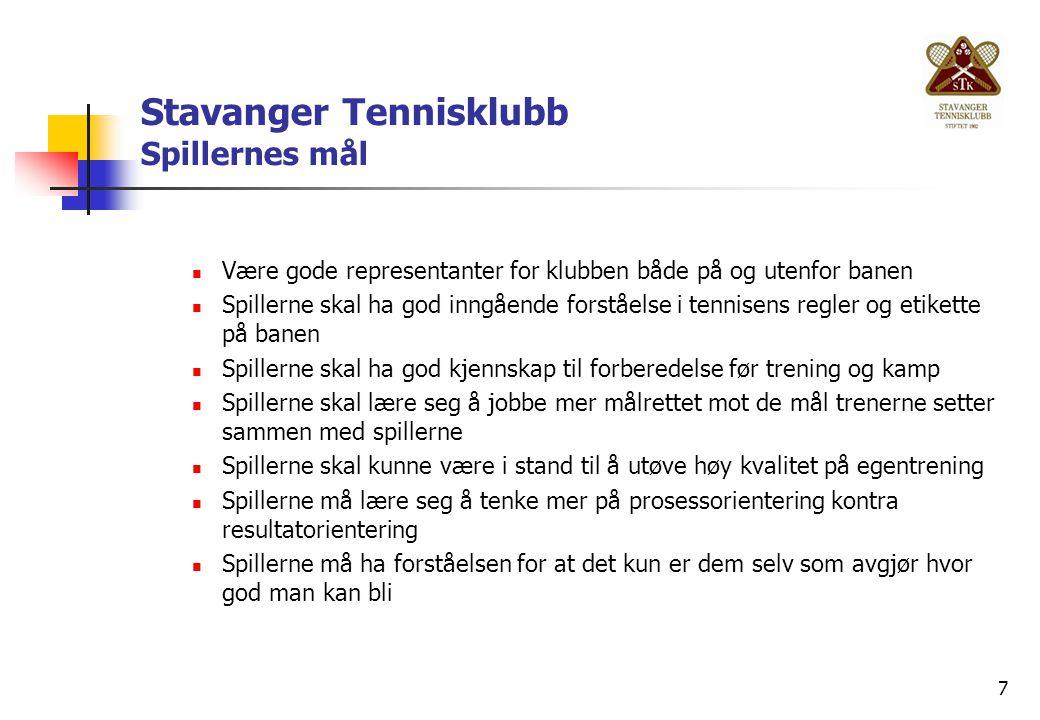 7 Stavanger Tennisklubb Spillernes mål Være gode representanter for klubben både på og utenfor banen Spillerne skal ha god inngående forståelse i tenn
