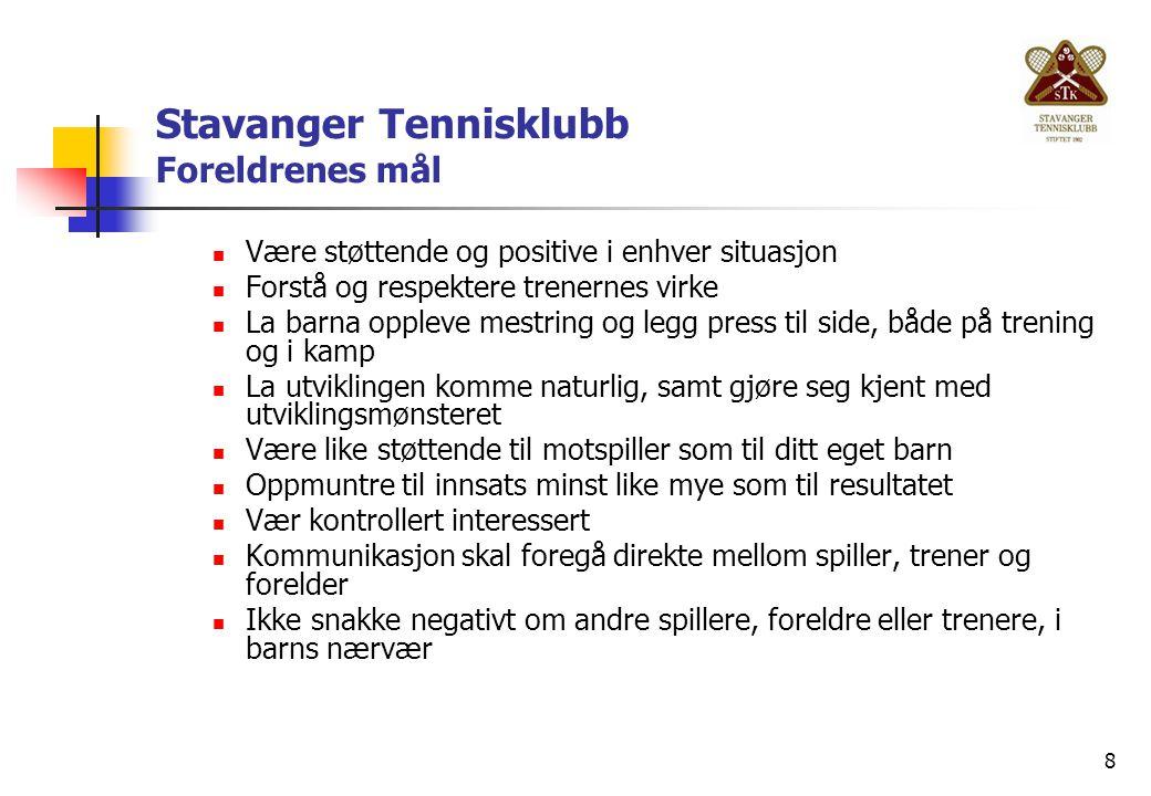8 Stavanger Tennisklubb Foreldrenes mål Være støttende og positive i enhver situasjon Forstå og respektere trenernes virke La barna oppleve mestring o