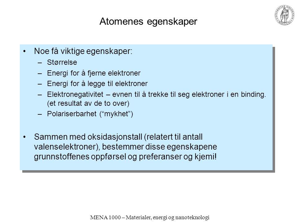 MENA 1000 – Materialer, energi og nanoteknologi Atomenes egenskaper Noe få viktige egenskaper: –Størrelse –Energi for å fjerne elektroner –Energi for