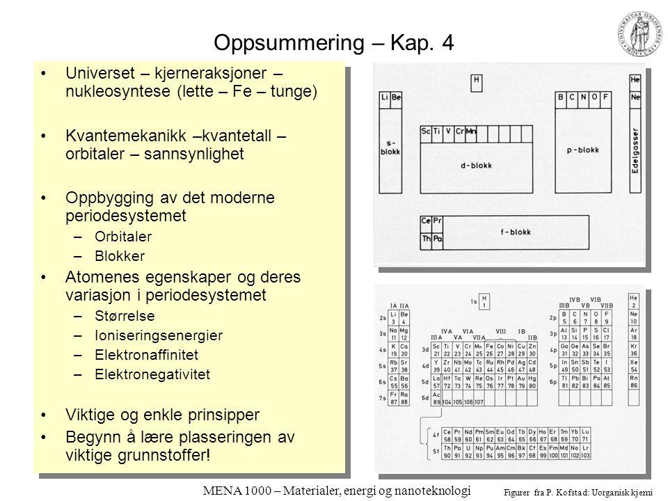 MENA 1000 – Materialer, energi og nanoteknologi Oppsummering – Kap. 4 Universet – kjerneraksjoner – nukleosyntese (lette – Fe – tunge) Kvantemekanikk