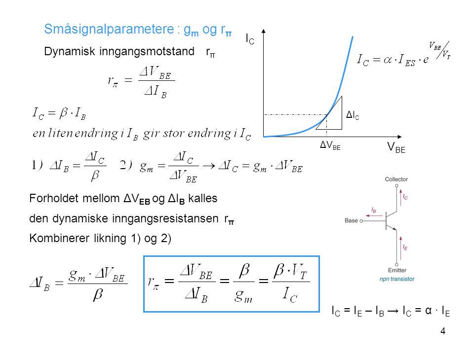 4 Småsignalparametere : g m og r π Dynamisk inngangsmotstand r π ΔICΔIC ΔV BE ICIC V BE I C = I E – I B → I C = α · I E Forholdet mellom ΔV EB og ΔI B