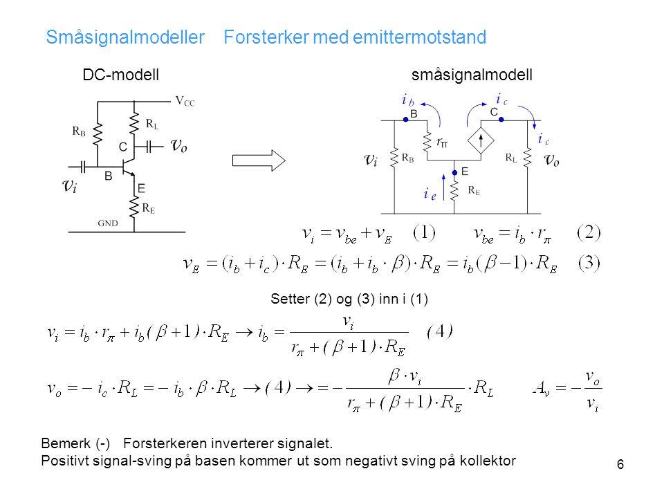 6 Småsignalmodeller Forsterker med emittermotstand DC-modellsmåsignalmodell Setter (2) og (3) inn i (1) Bemerk (-) Forsterkeren inverterer signalet.