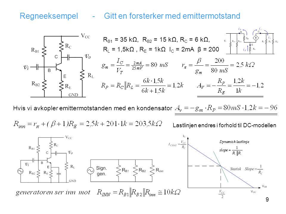 9 Regneeksempel - Gitt en forsterker med emittermotstand R B1 = 35 kΩ, R B2 = 15 kΩ, R C = 6 kΩ, R L = 1,5kΩ, R E = 1kΩ I C = 2mA β = 200 Hvis vi avkopler emittermotstanden med en kondensator Lastlinjen endres i forhold til DC-modellen