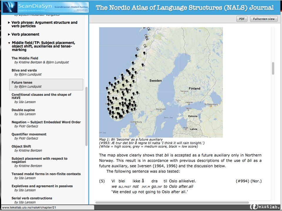 Liste med lingvistiske fenomener med lenker direkte til kartene som viser distribusjonen for fenomenet