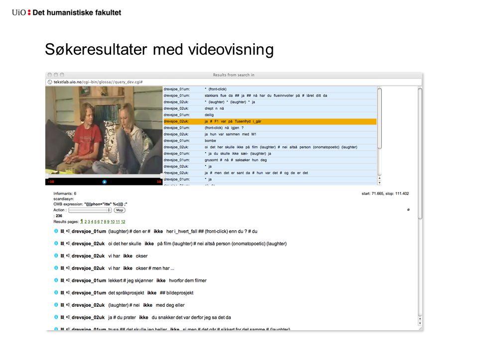 Søkeresultater med videovisning