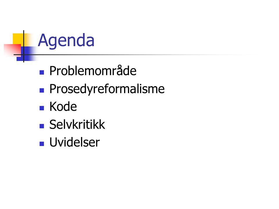 Agenda Problemområde Prosedyreformalisme Kode Selvkritikk Uvidelser