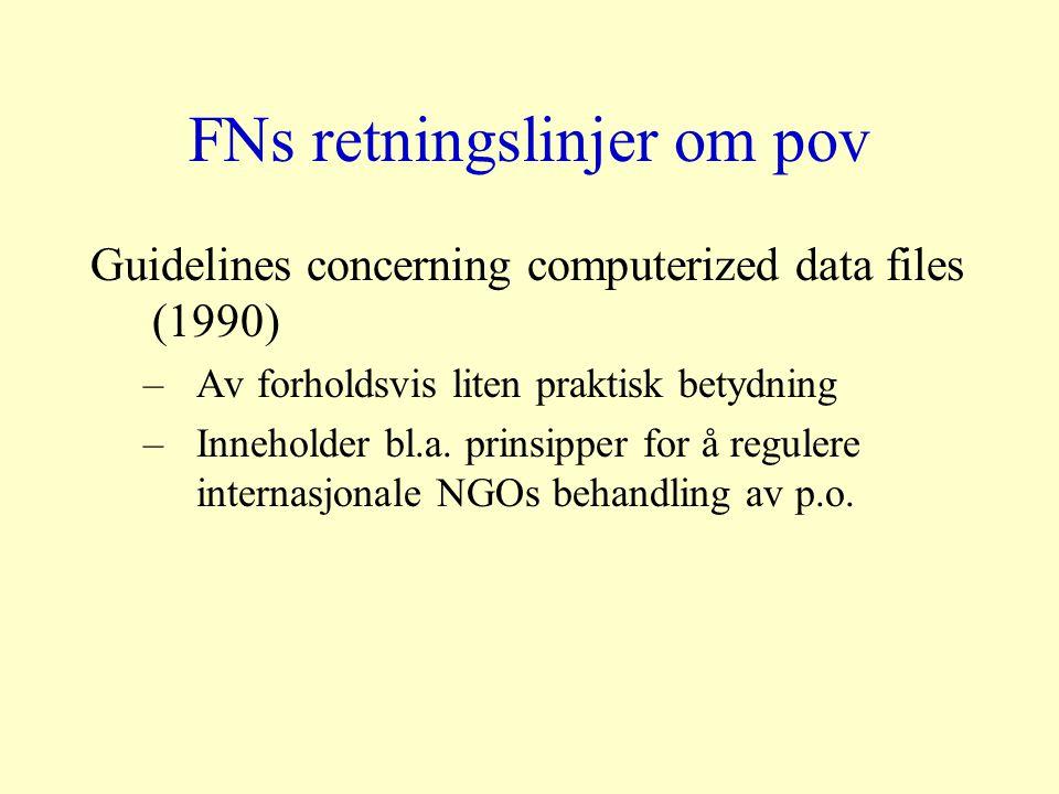 FNs retningslinjer om pov Guidelines concerning computerized data files (1990) –Av forholdsvis liten praktisk betydning –Inneholder bl.a.